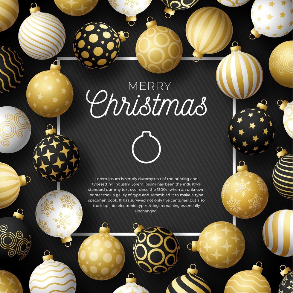 lyxig julförsäljning fyrkantig banner med utsmyckade bollprydnader vektor
