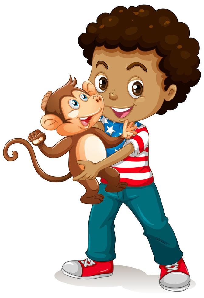 Junge, der einen kleinen Affen lokalisiert auf weißem Hintergrund hält vektor