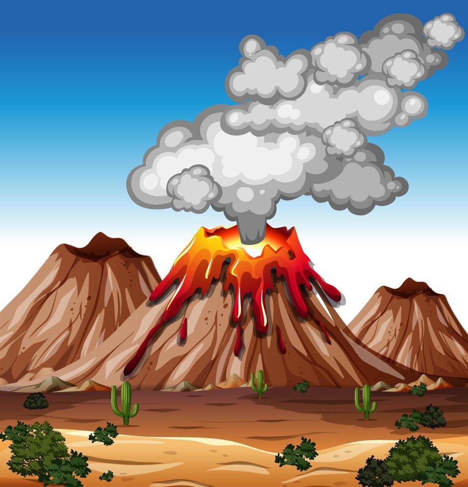 Vulkanausbruch in der Naturszene tagsüber vektor