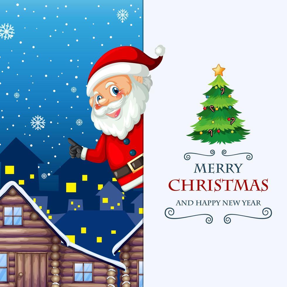 Frohe Weihnachten und ein frohes neues Jahr Grußkarte mit Weihnachtsmann vektor