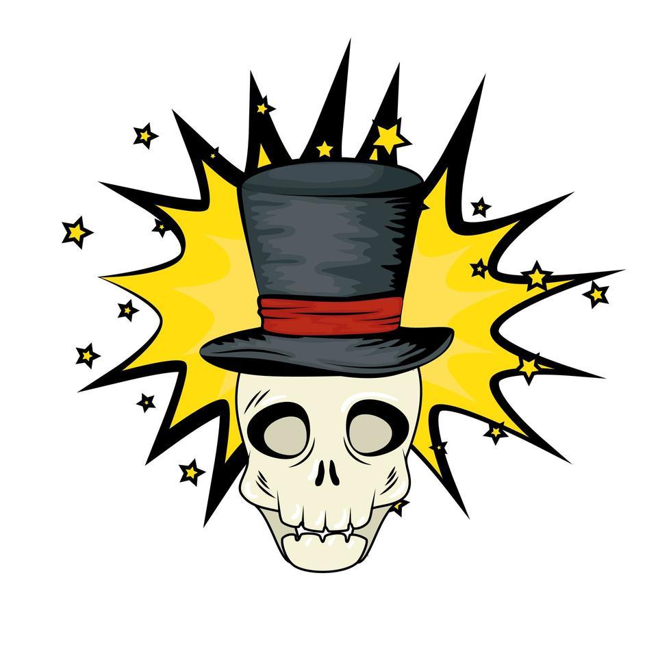popkonst halloween skalle med hatt vektor
