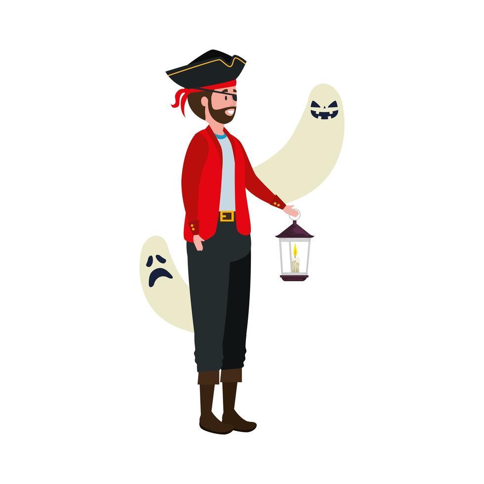 Mann im Piratenkostüm mit Laterne und Geistern vektor