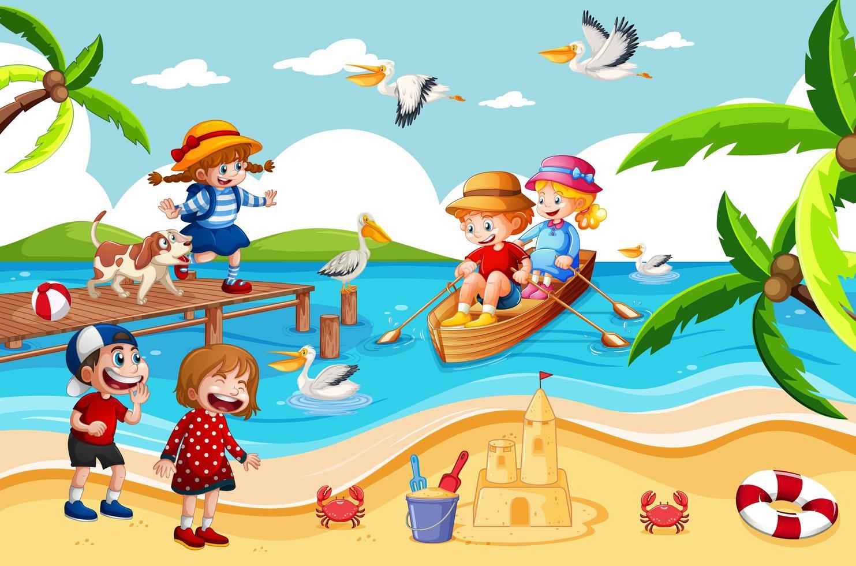 Kinder rudern das Boot in der Strandszene vektor