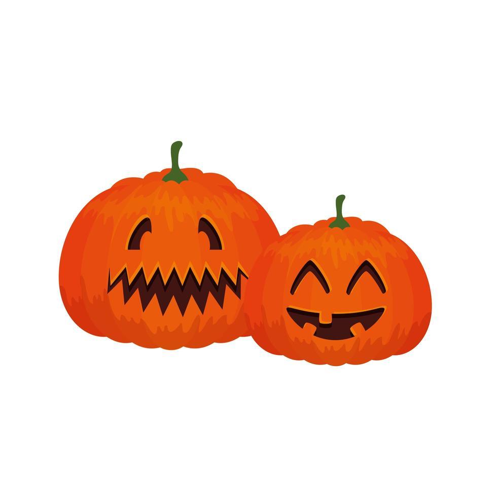 spöklik halloween pumpakomposition vektor