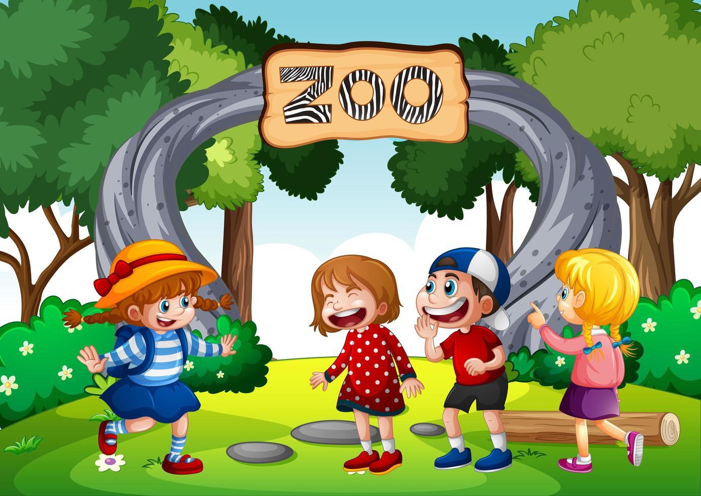 barn i djurparken vektor
