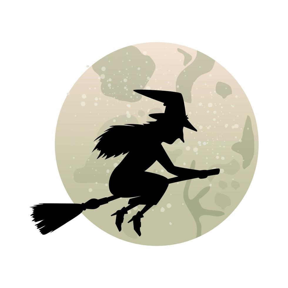 Hexensilhouette fliegt mit einem Besen vektor