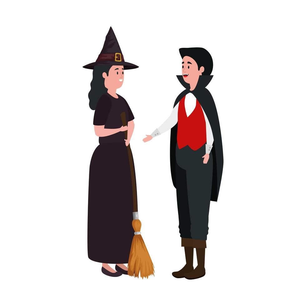 människor i halloween-dräkter vektor