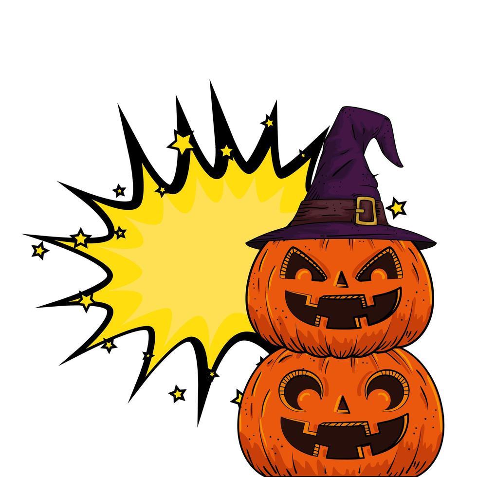 Pop-Art-Halloween-Kürbisse vektor
