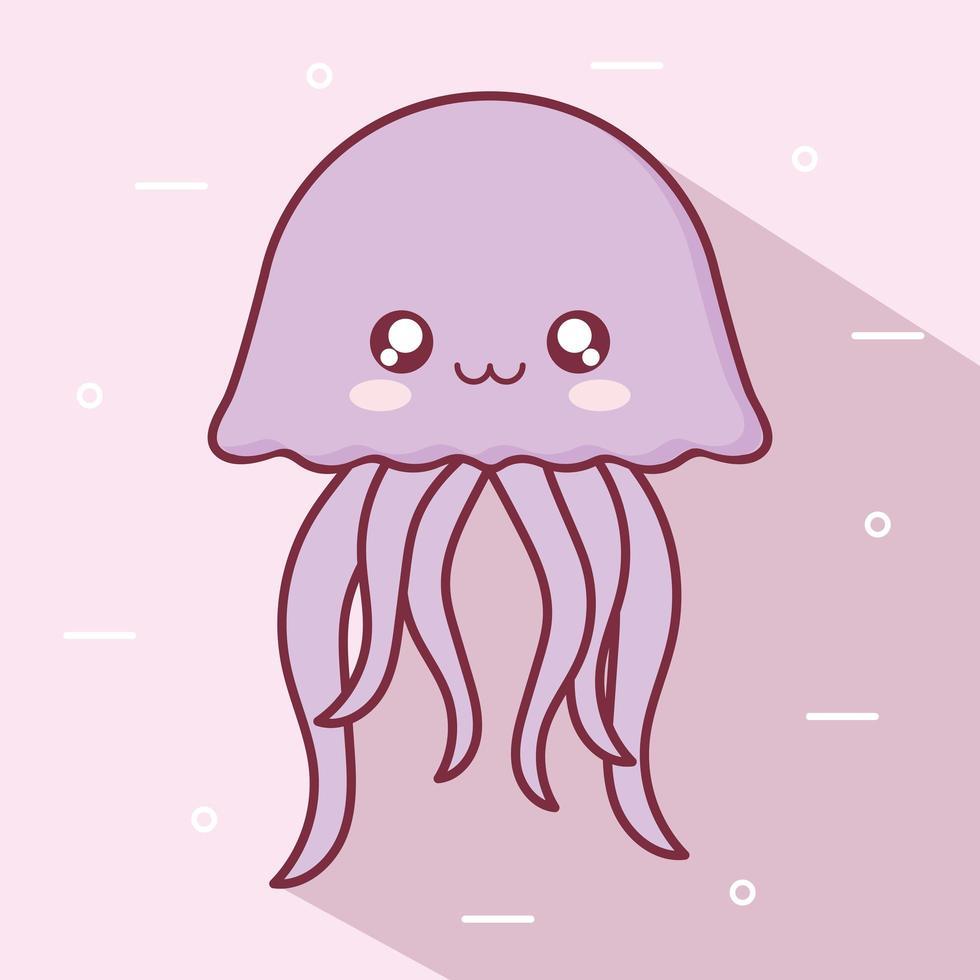 kawaii Quallen Tier Cartoon Design vektor