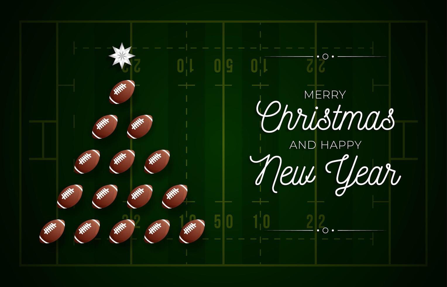julgran gjord av amerikansk fotboll på fältet vektor