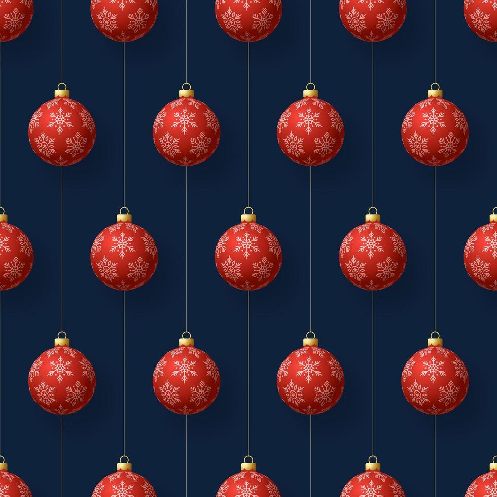jul hängande röda snöflingor ornament sömlösa mönster vektor