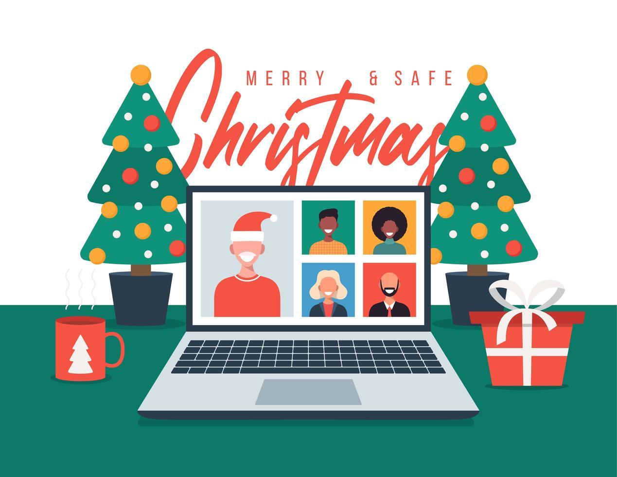 julhälsning med familj eller vänner videosamtal vektor