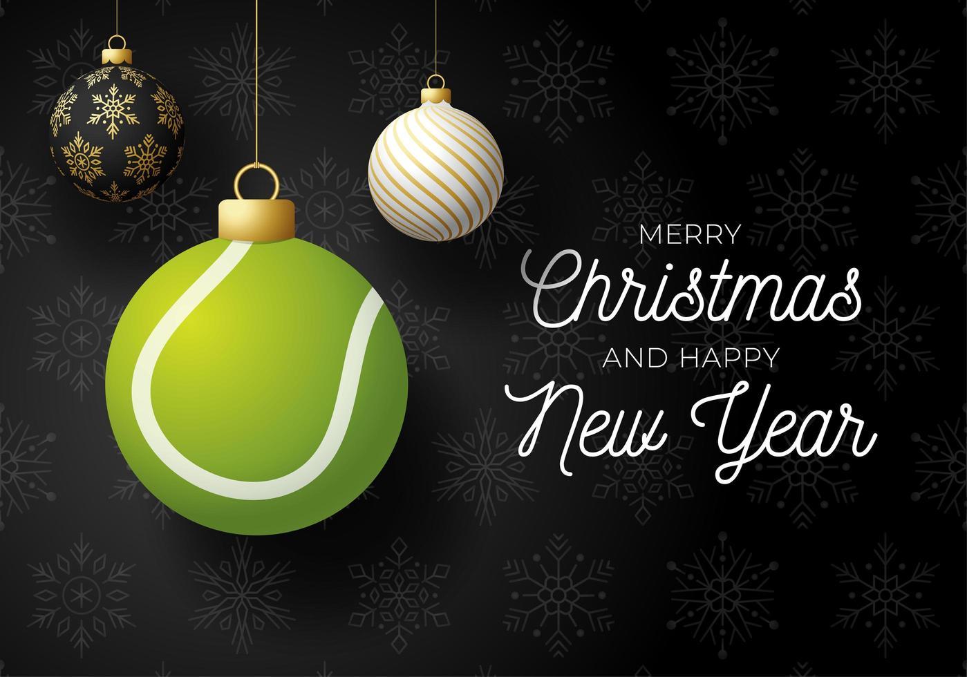 lyxigt semesterkort med hängande ornament och tennisboll vektor