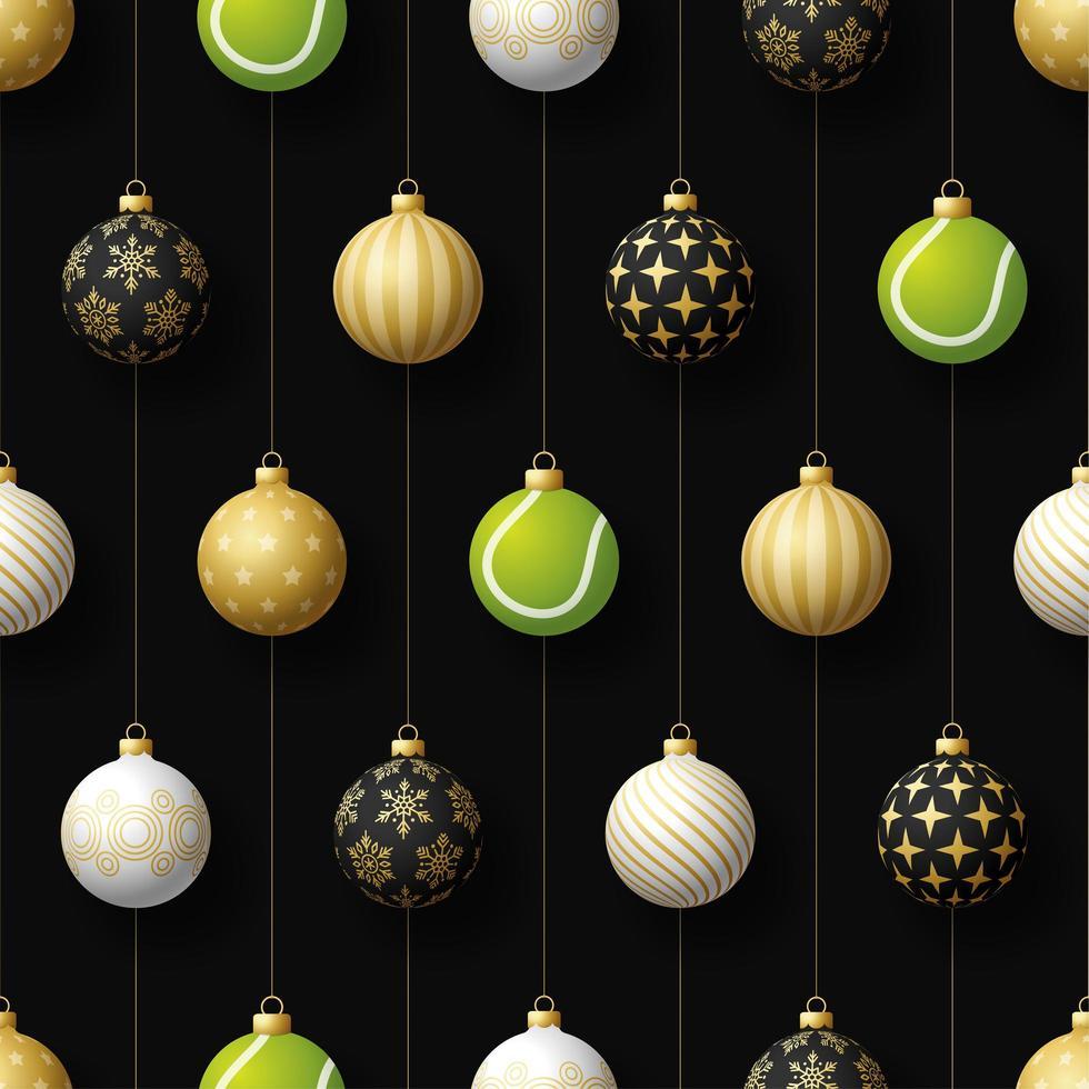 jul hängande ornament och tennisboll sömlösa mönster vektor