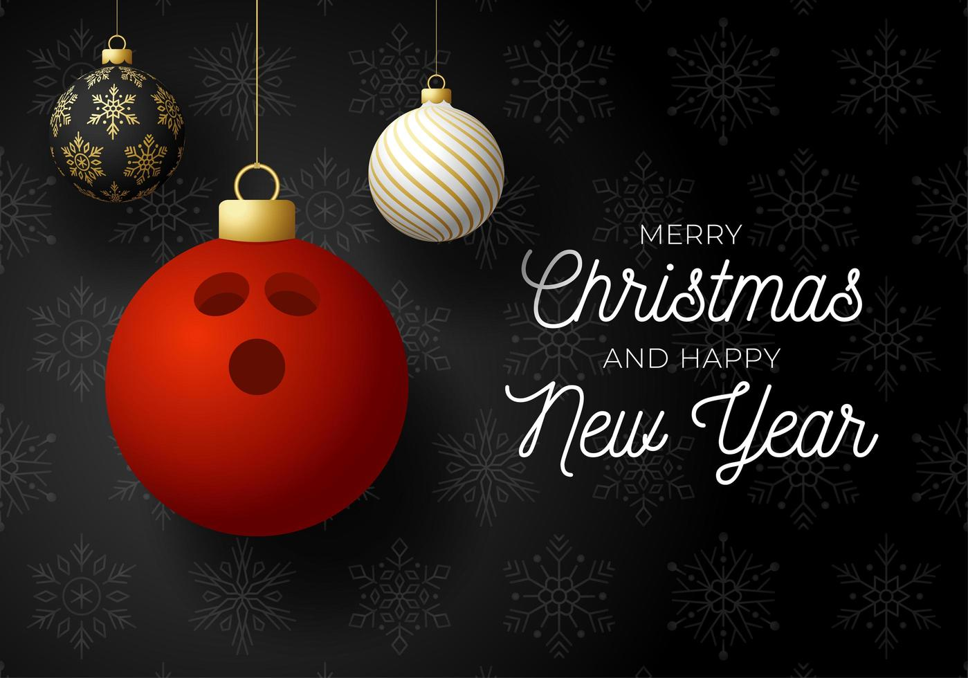 Weihnachtskarte mit Kugelschmuck und Bowlingkugel vektor