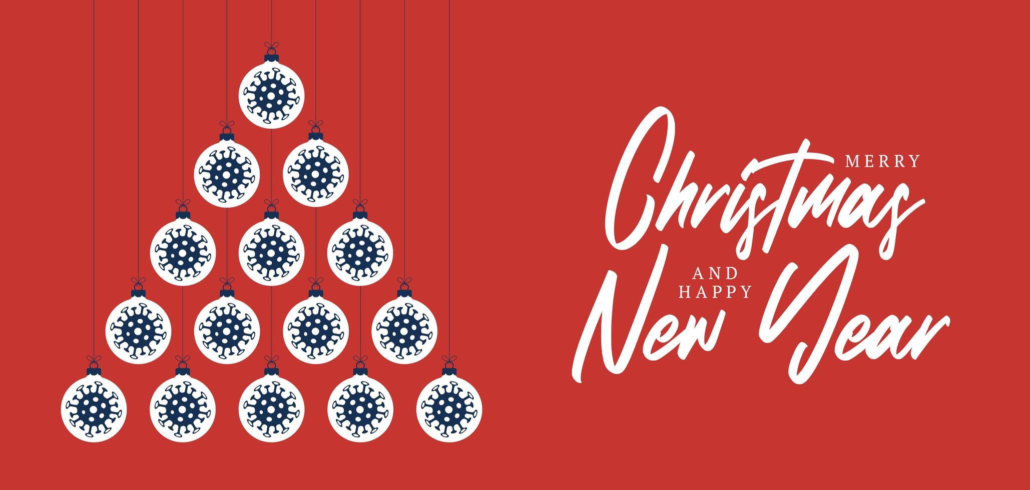 covid prydnad jul och nyår gratulationskort vektor
