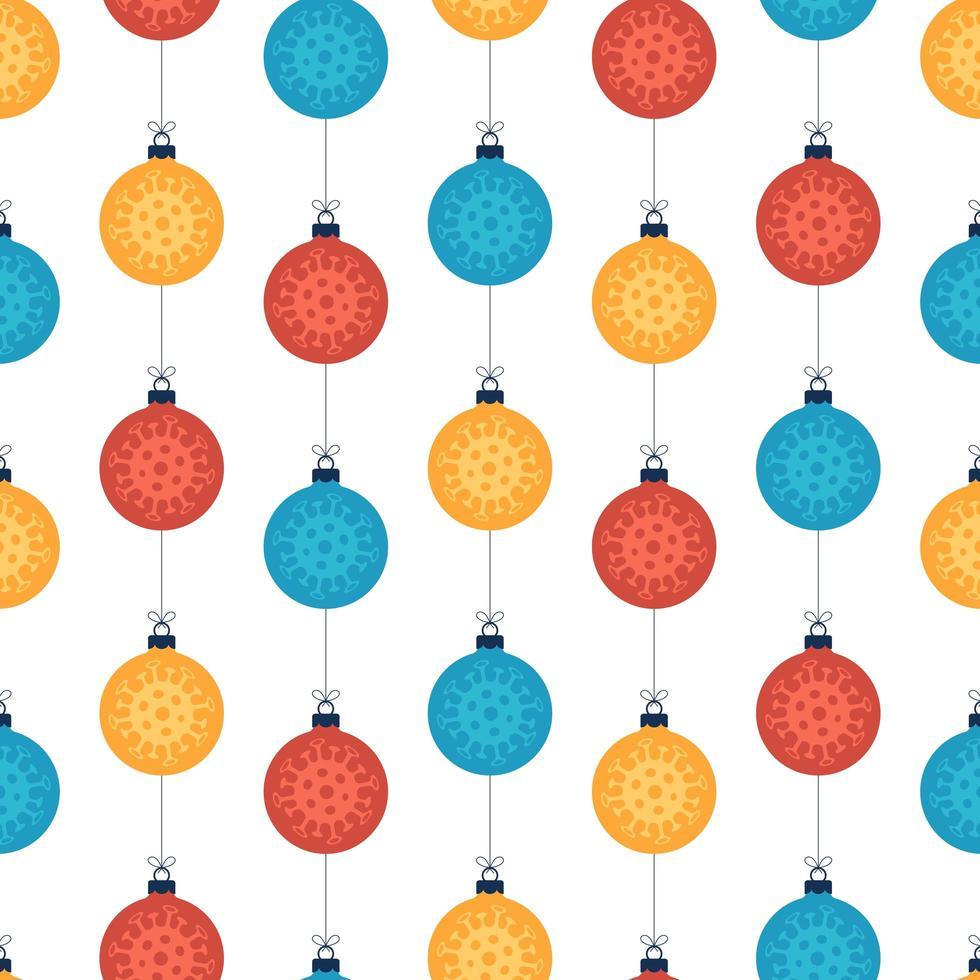 bunte Kugeln des Weihnachtskoronavirus nahtlosen Musters auf Weiß vektor