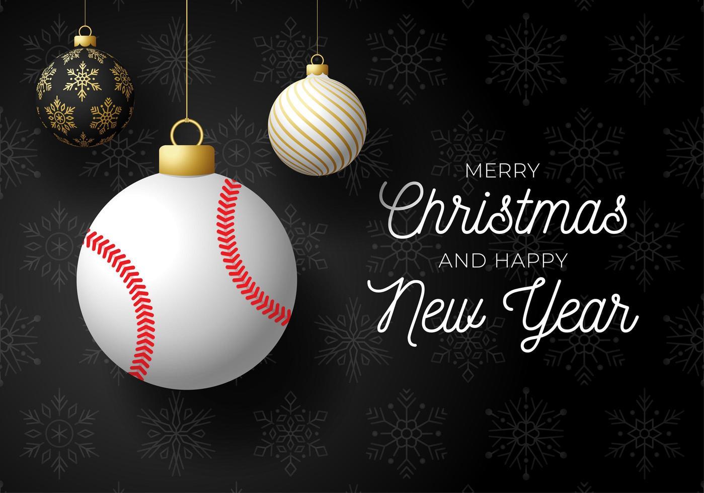 Weihnachtskarte mit Ballschmuck und Baseball vektor