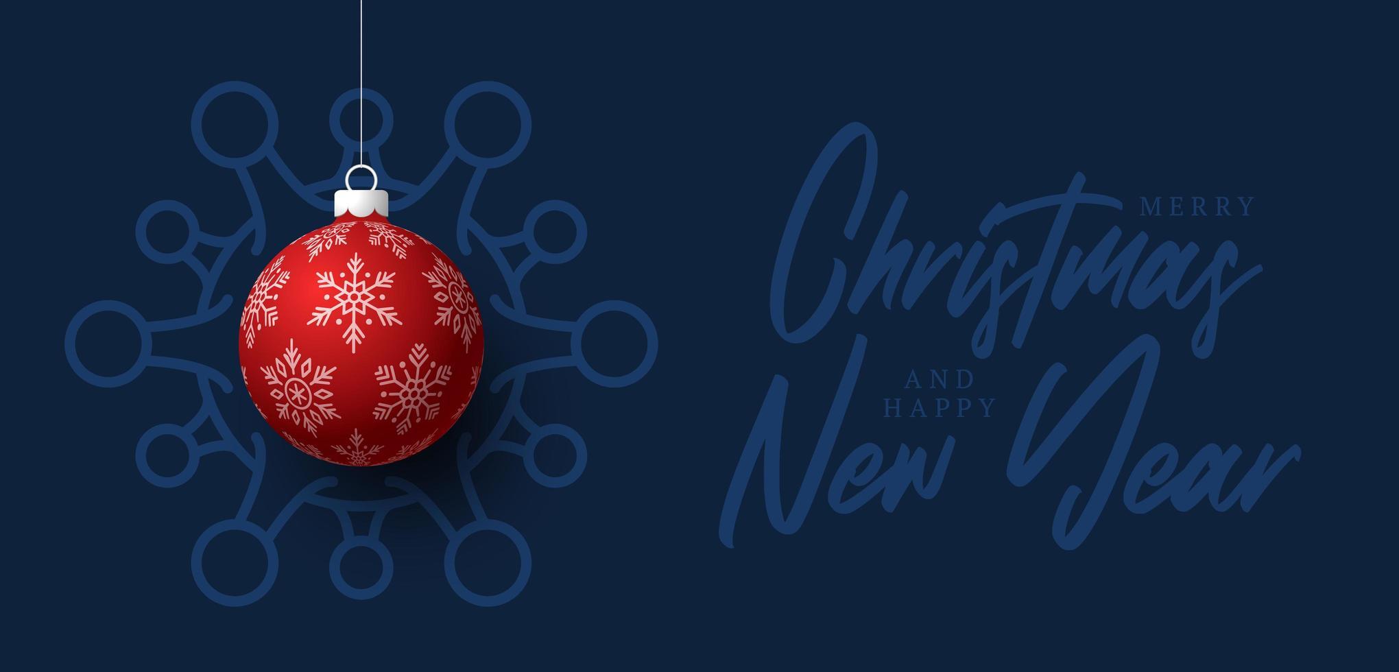 röd jul boll coronavirus cell blå banner vektor