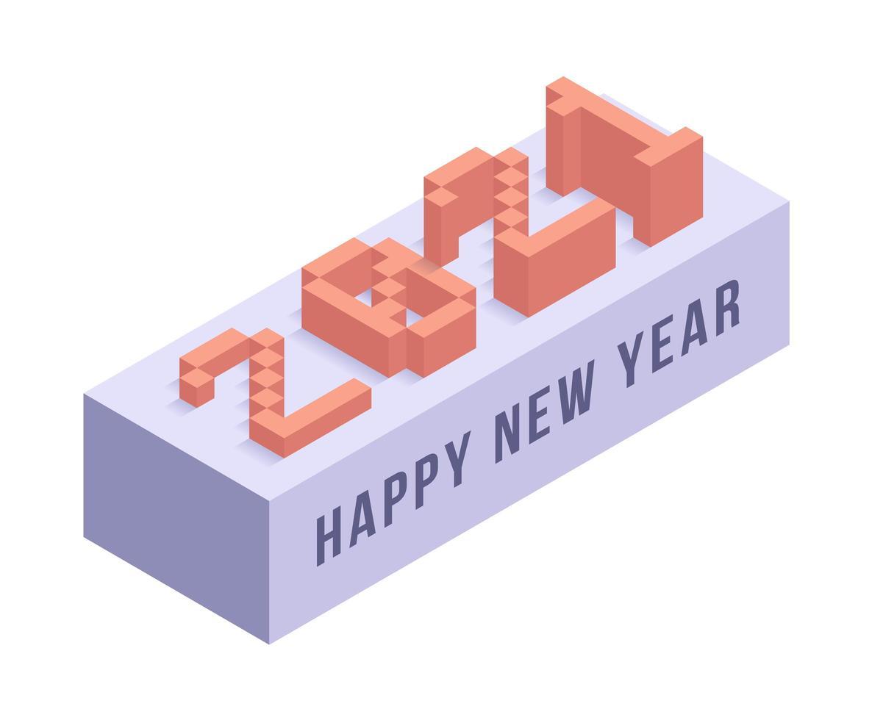 gott nytt år 2021 isometrisk typografi vektor