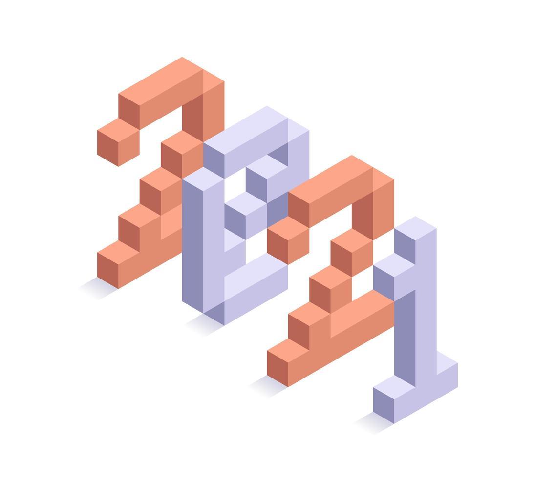 2021 isometrisk typografi vektor
