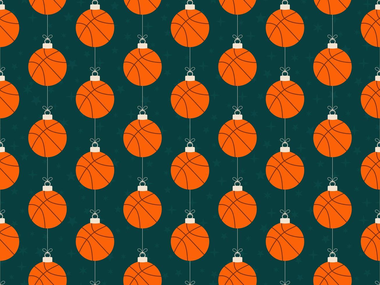 Frohe Weihnachten Basketball nahtlose horizontale Muster vektor