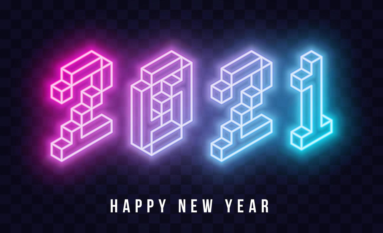 2021 Frohes Neues Jahr isometrischer Neontext vektor
