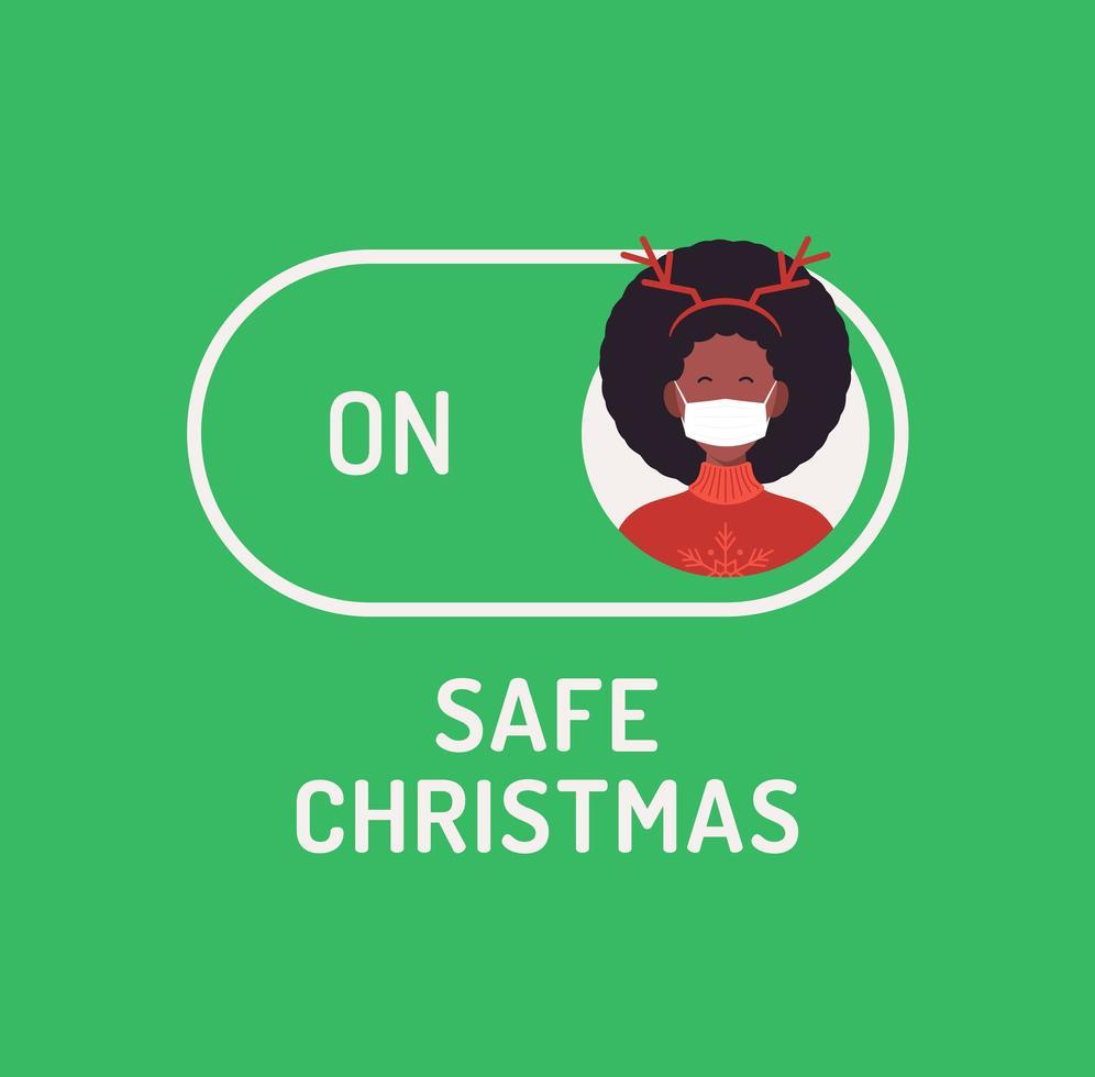 Gesichtsmaske sicherer Weihnachtsmodus Schalter umschalten vektor