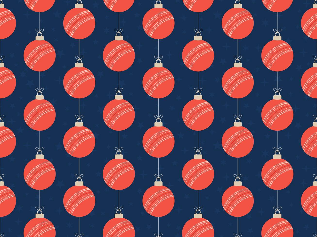 Frohe Weihnachten Cricketball nahtlose horizontale Muster vektor