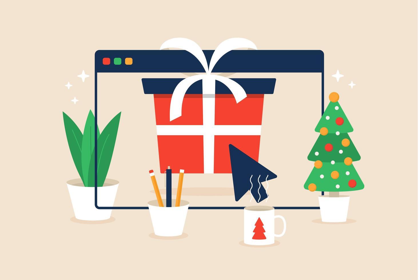 jul online shopping design med gåva i webbläsarfönstret vektor