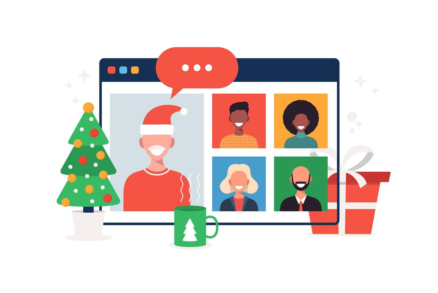 jul ny normal familj eller vänner videosamtal vektor