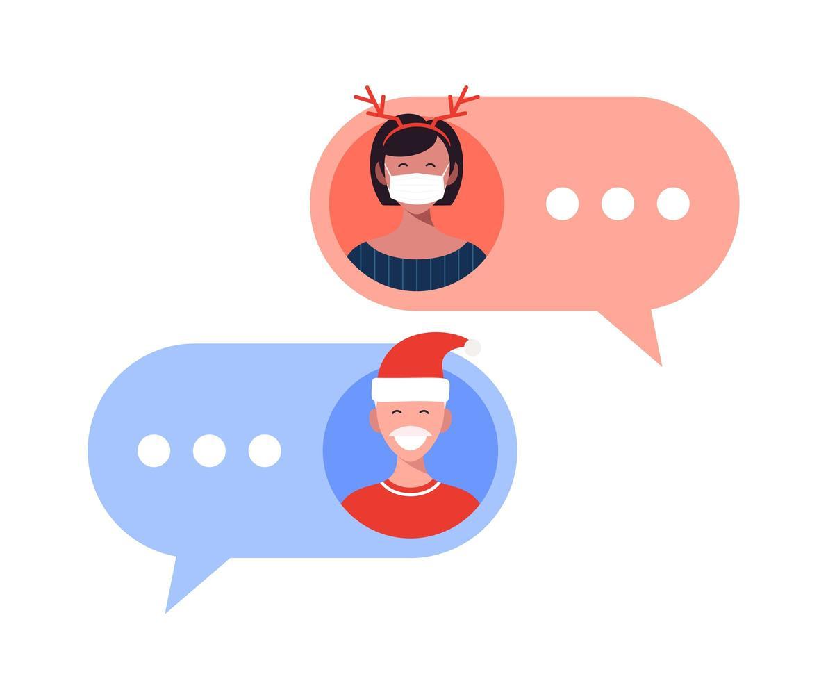 Online-Urlaubs-Chat zwischen Mann und Frau vektor