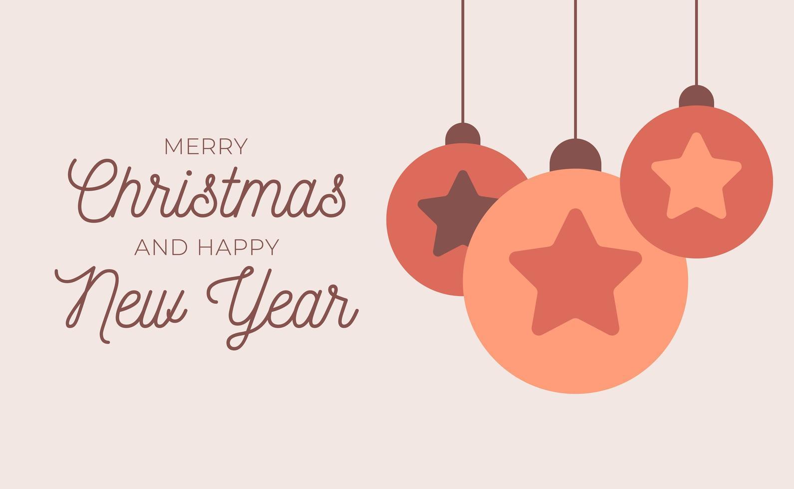 retro jul eller nyårskort med trädbollar vektor