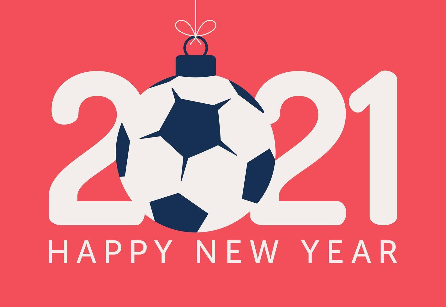 2021 nyårs typografi med fotboll eller fotboll prydnad vektor