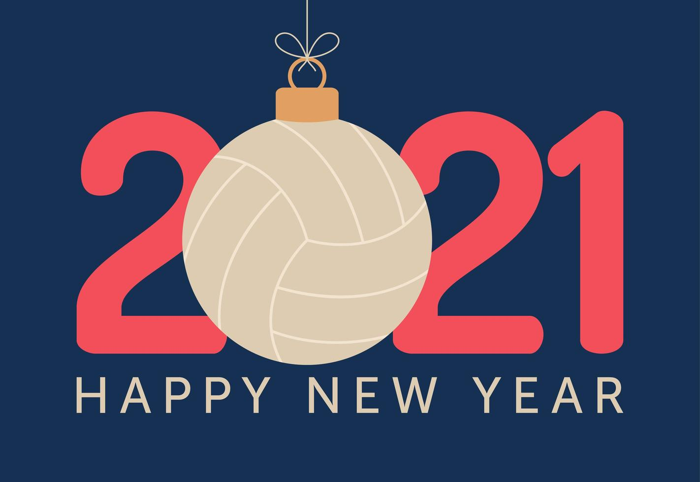2021 Frohes Neues Jahr Typografie mit Volleyball Ornament vektor