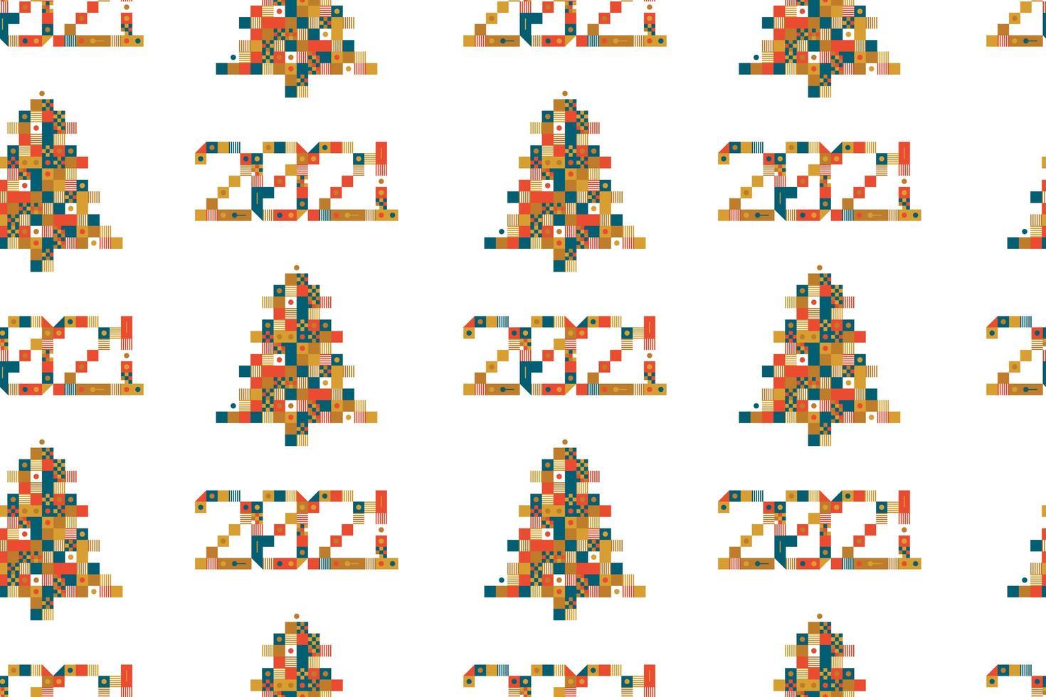 2021 och julgran pixel art seamless mönster vektor