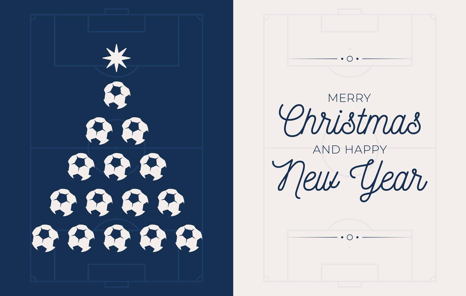 semester banner med fotboll eller fotboll julgran vektor