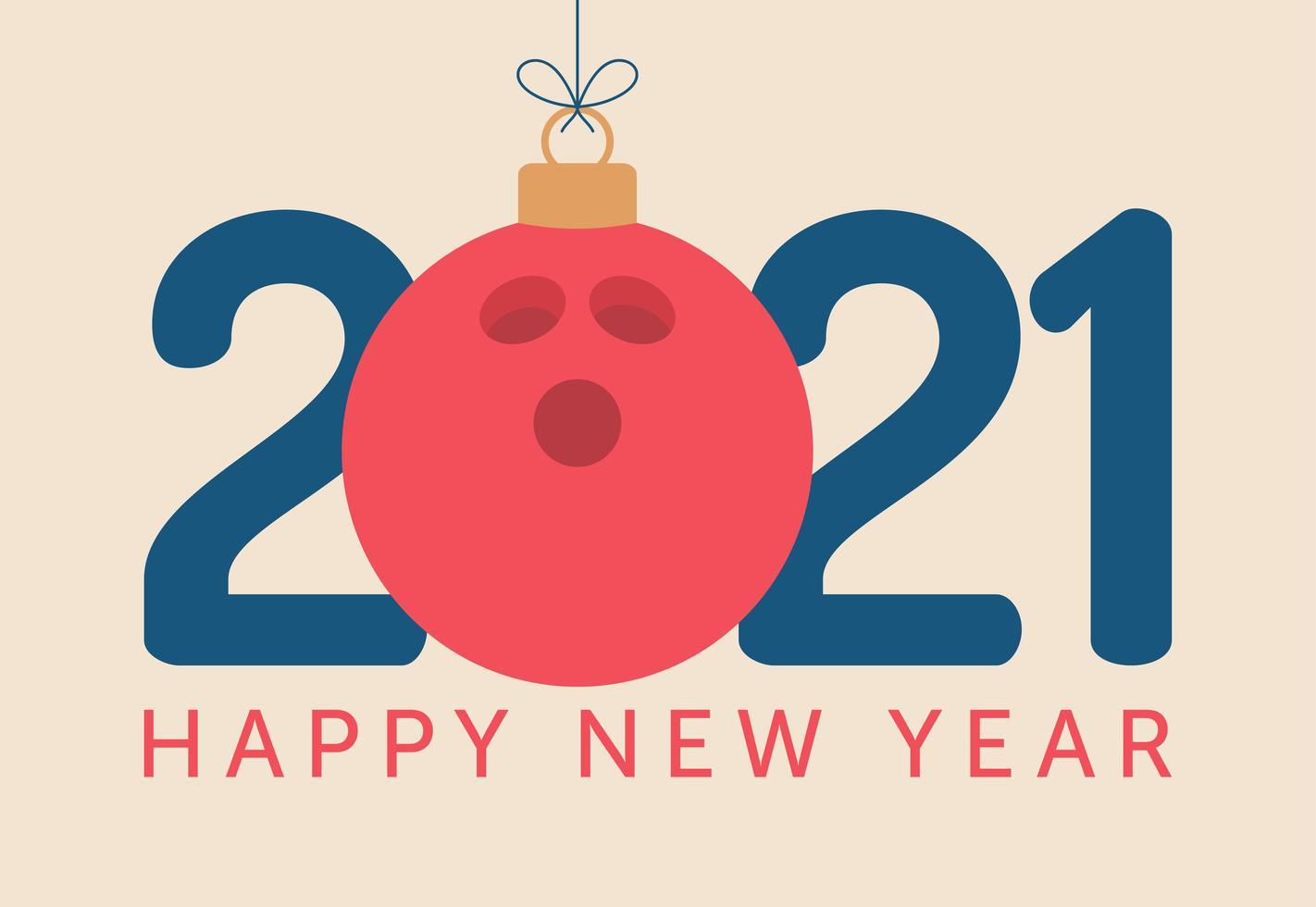 2021 gott nytt år typografi med bowlingboll prydnad vektor