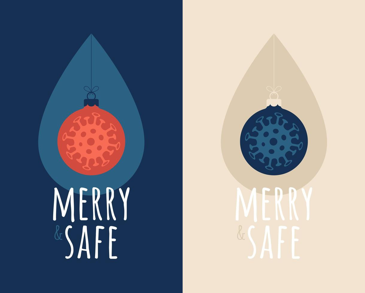 Frohe und sichere Virus-Weihnachtskugel mit Desinfektionstropfen vektor