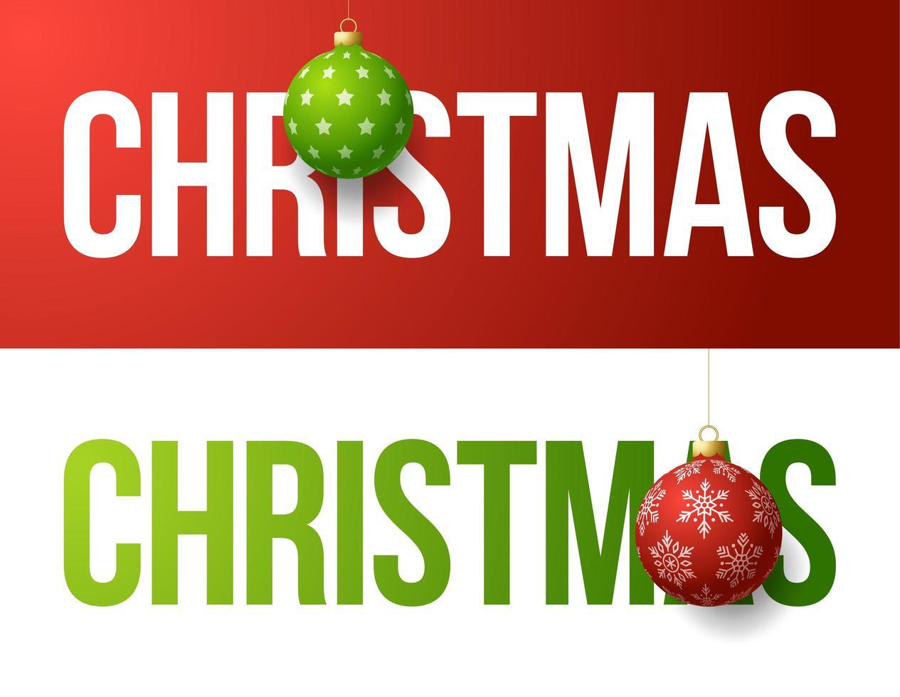 Weihnachten Typografie Banner Set mit Ball Ornamente vektor