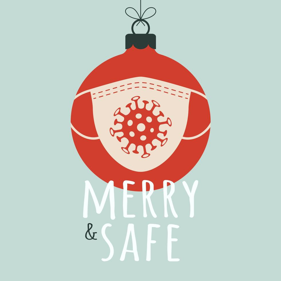 Frohe und sichere Weihnachtskugel mit Gesichtsmaske vektor