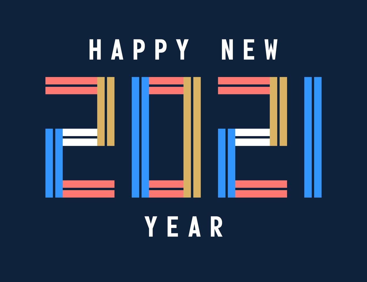 gott nytt år 2021 typografi firande gratulationskort vektor
