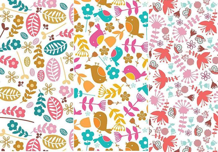 Blumen- und Vogel-Illustrator-Muster vektor