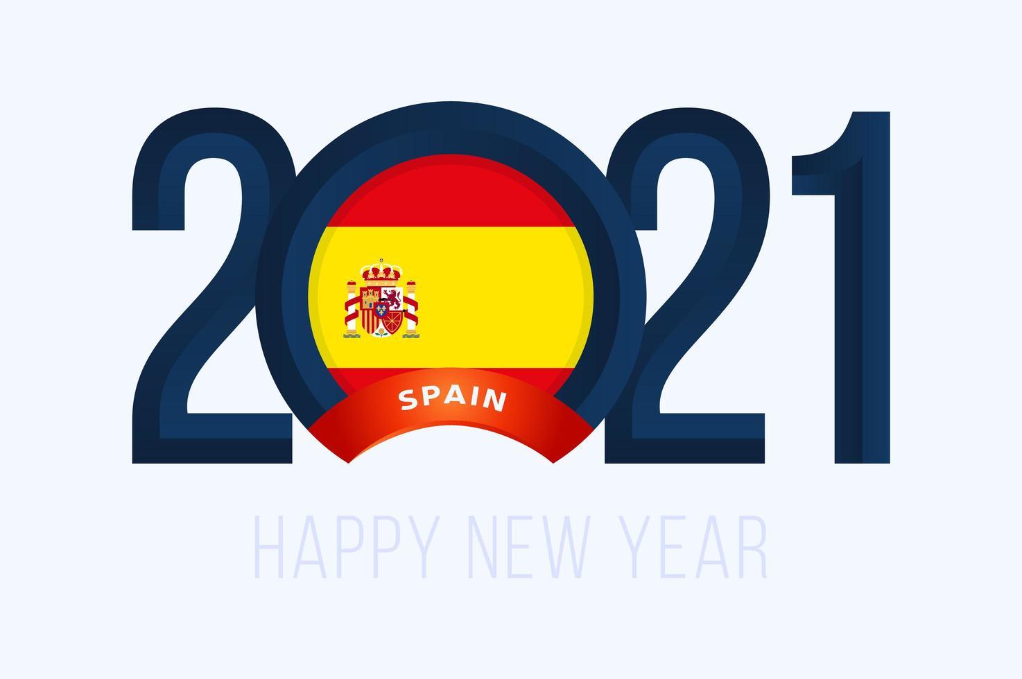 nyår 2021 typografi med spanska flaggan vektor