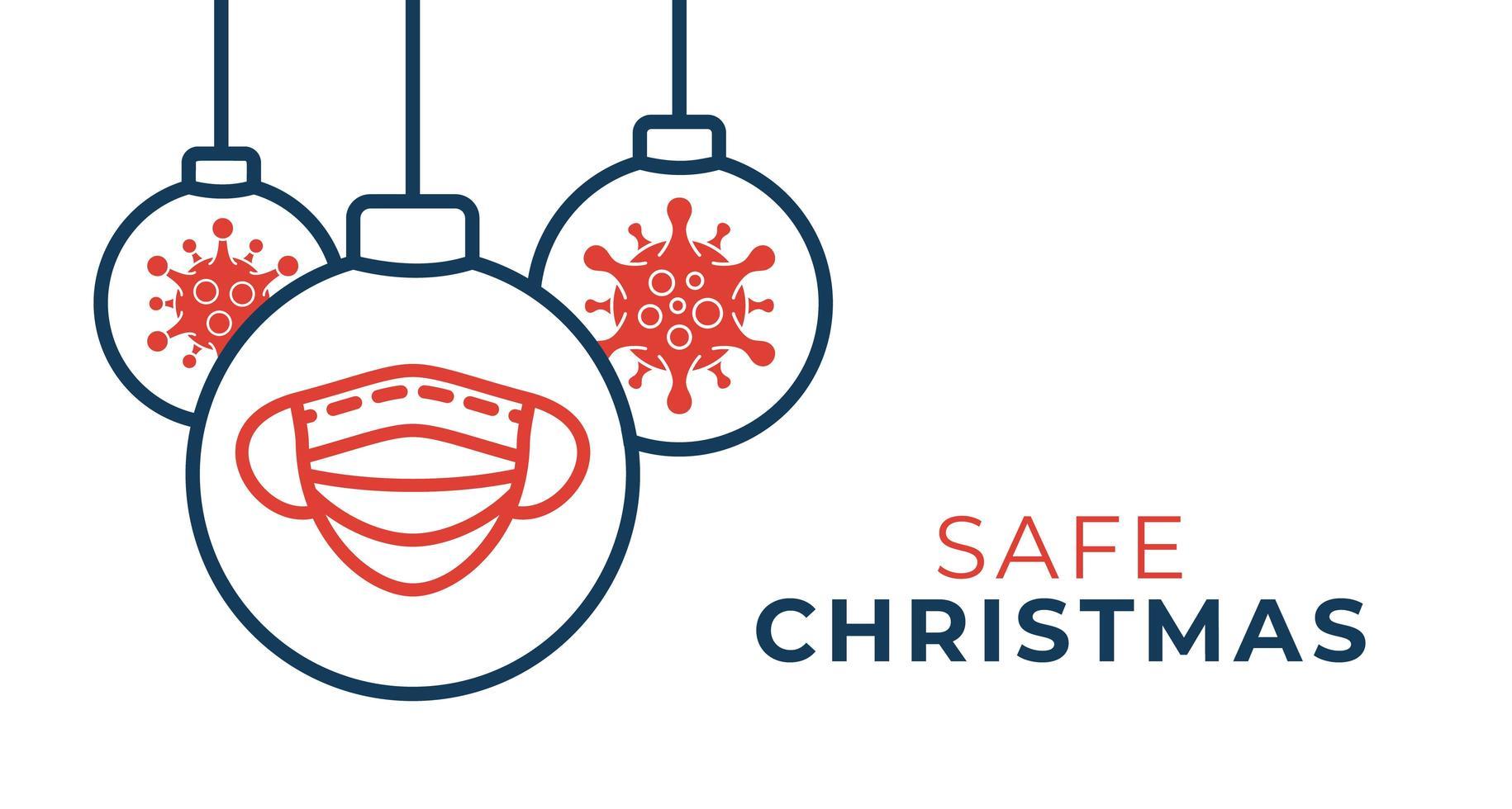 sichere Weihnachten Coronavirus Ball Banner vektor