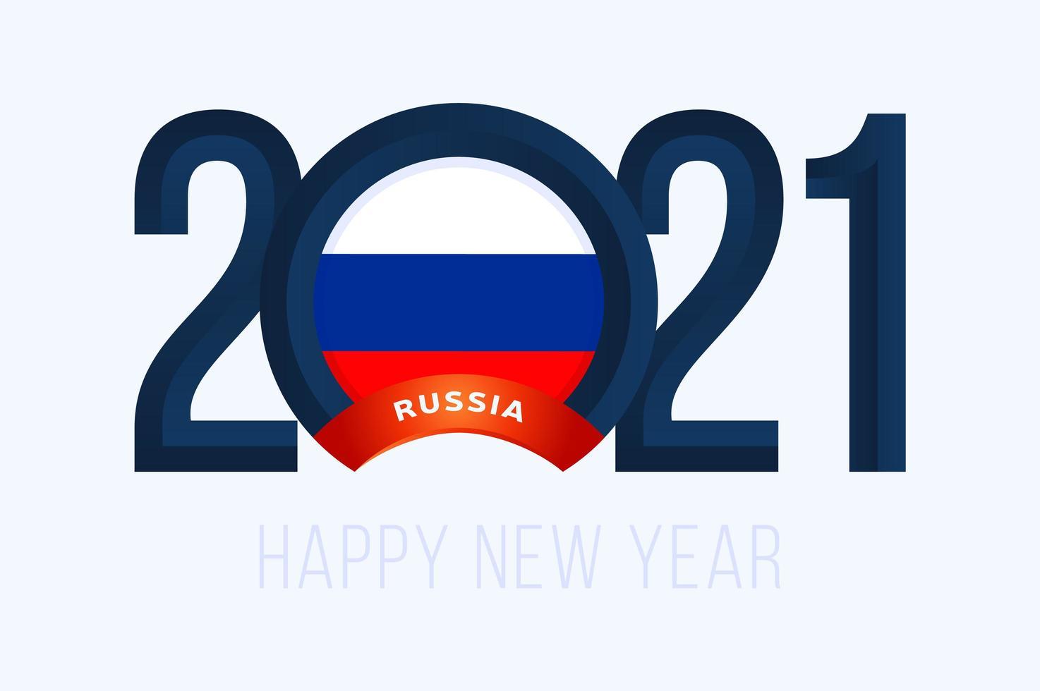 nytt år 2021 typografi med rysslands flagga vektor