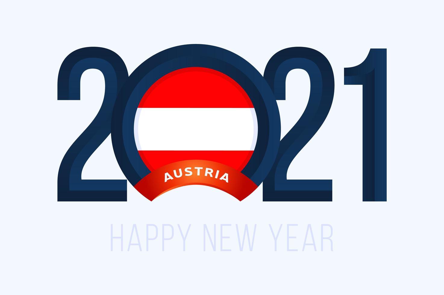 nyår 2021 typografi med österrikes flagga vektor