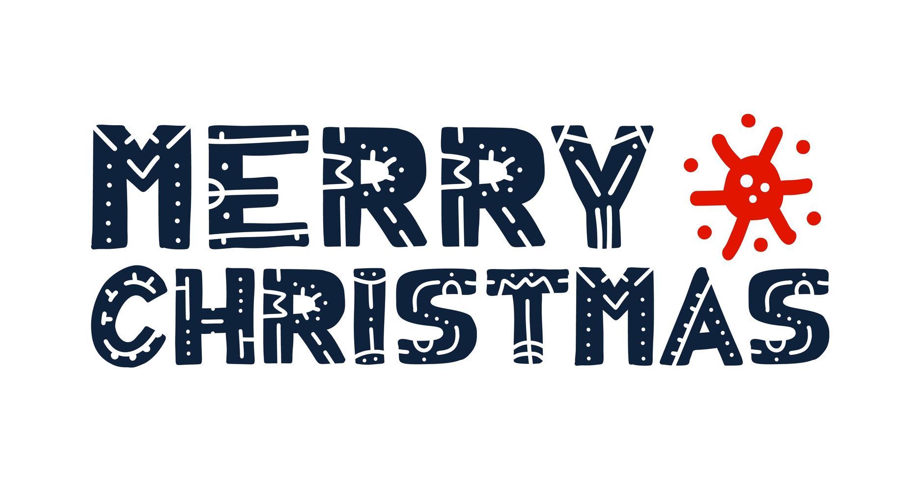 skandinavisches Frohe Weihnachten Coronavirus Typografie Poster vektor