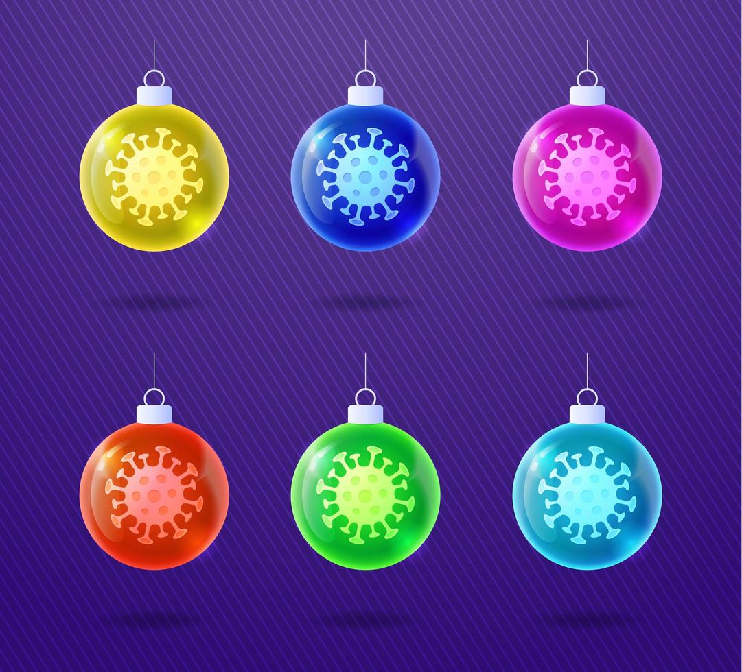 Glas glänzend Weihnachten Coronavirus Ball Ornament Set vektor