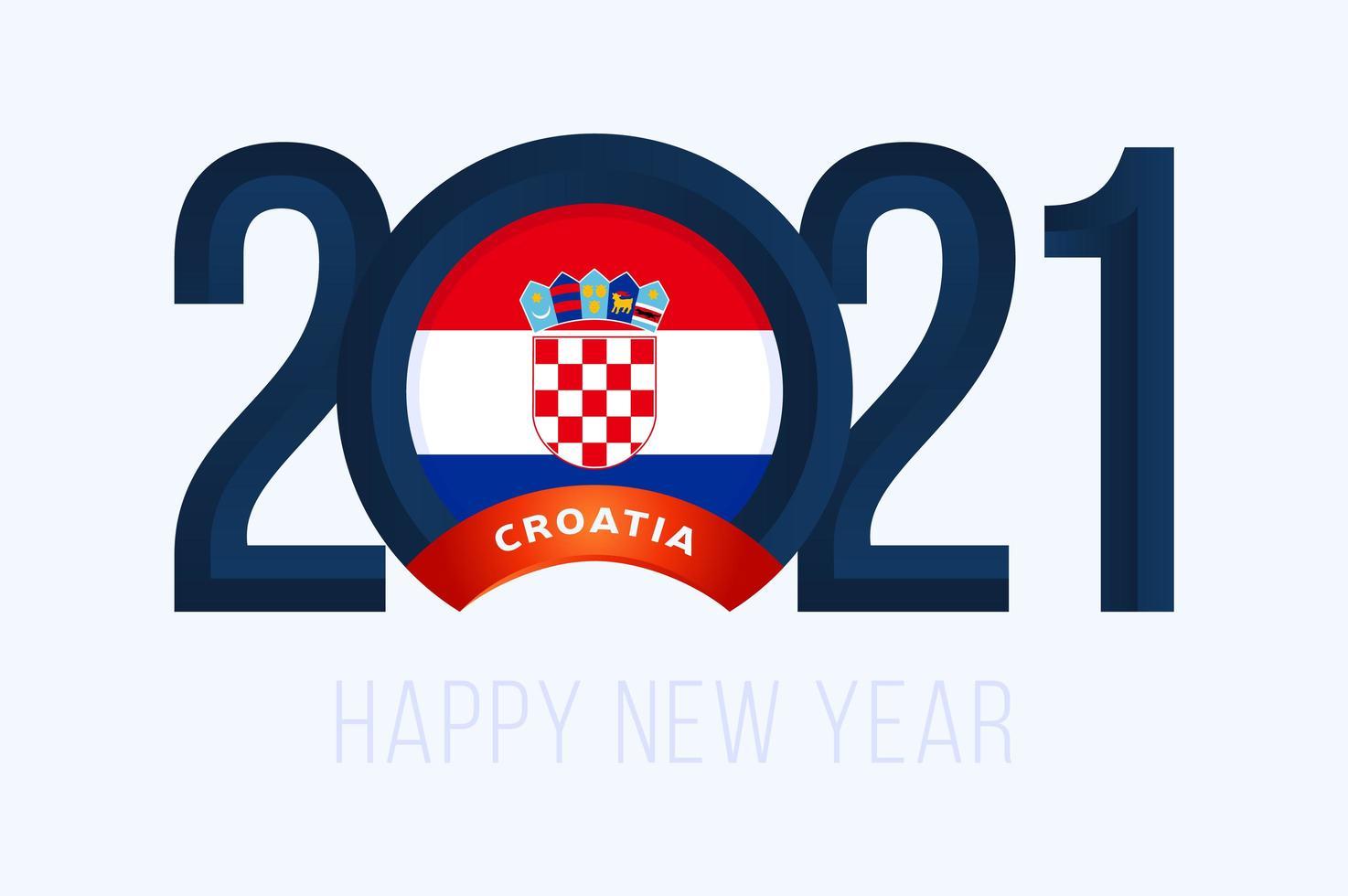 nyår 2021 typografi med kroatisk flagga vektor